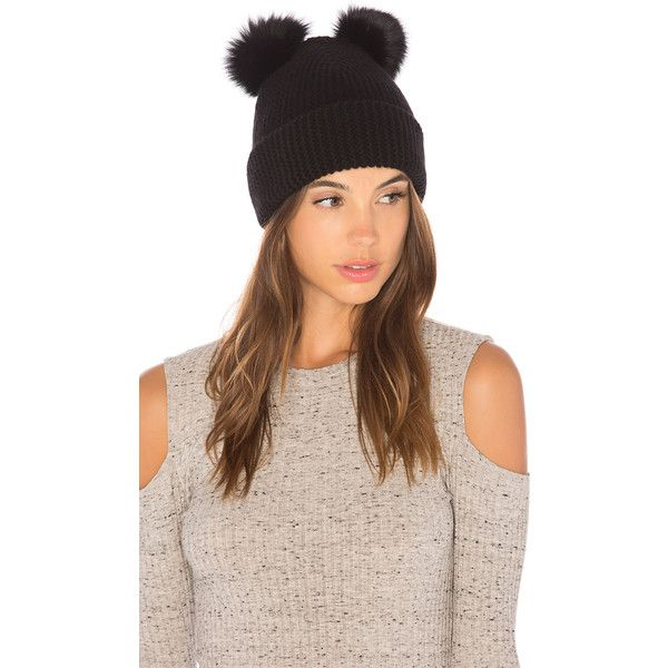 0f70fae15d5dc7 Autumn Cashmere Double Fox Fur Pom Pom Beanie ($150) ❤ liked on Polyvore  featuring accessories, hats, pompom hat, pom beanie, autumn cashmere, fox  fur ...