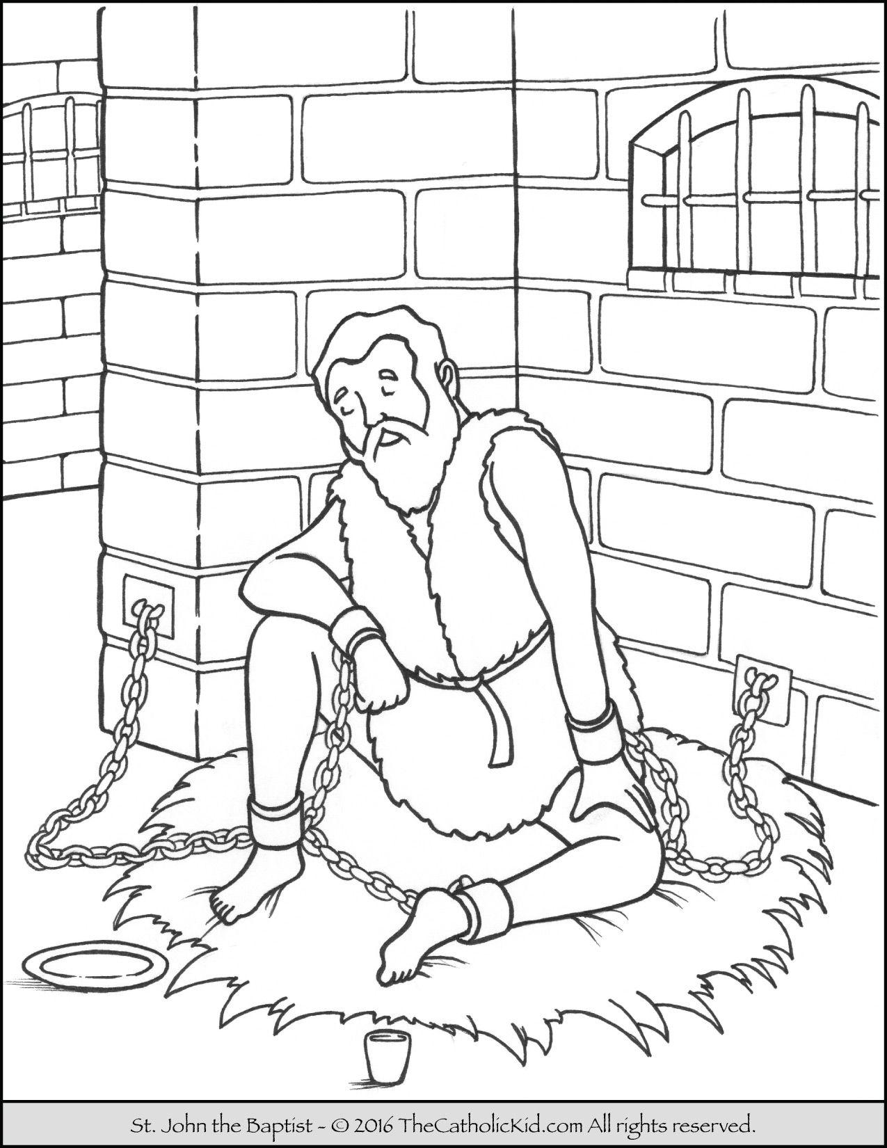 Saint John The Baptist Imprisoned Coloring Page Catholic Saints