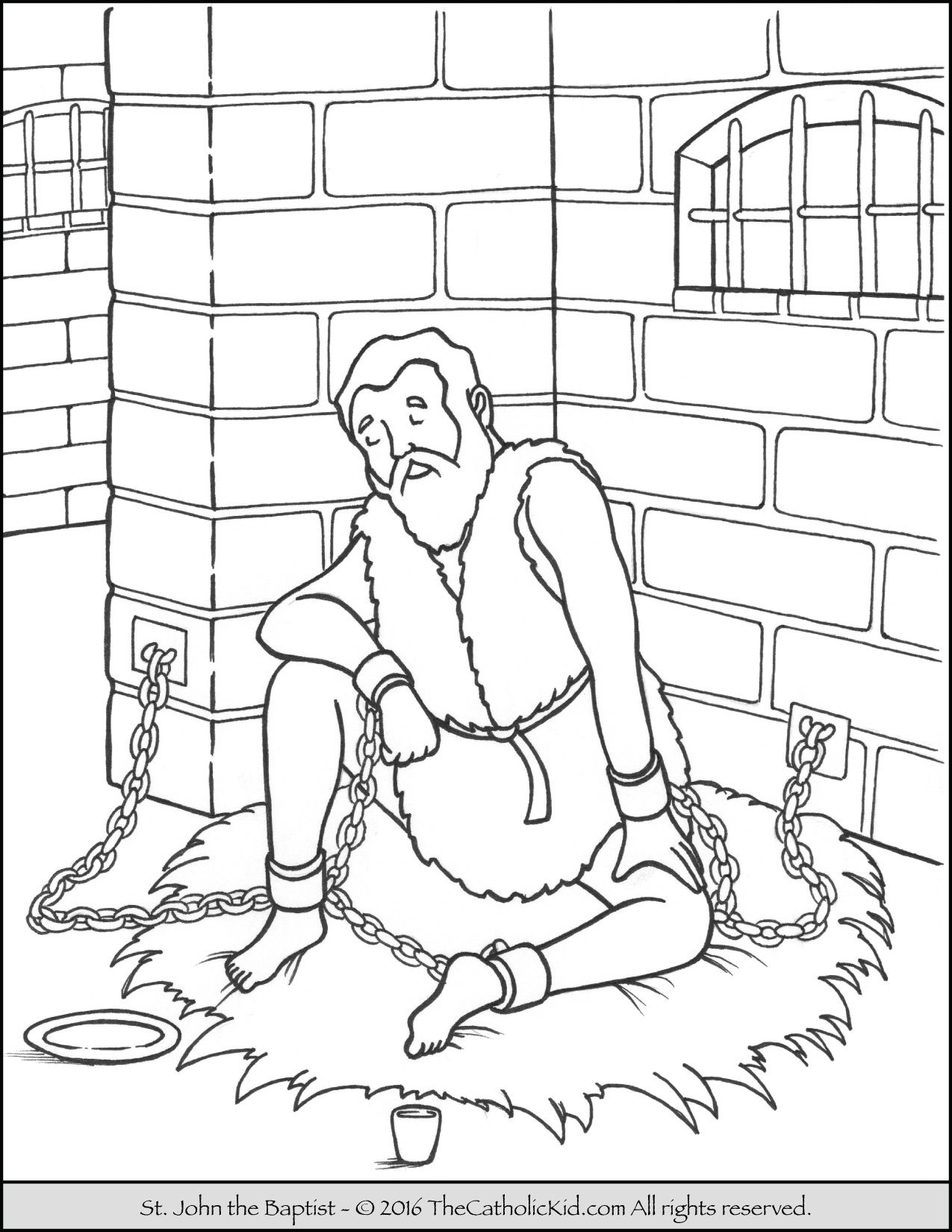 Saint John The Baptist Imprisoned Coloring Page Christian
