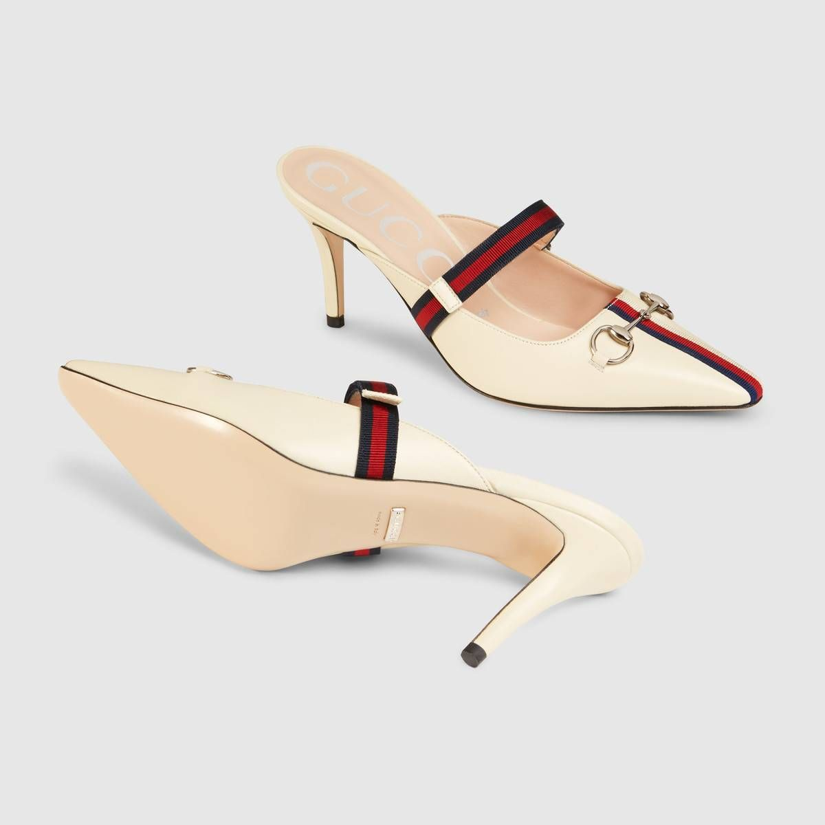 c198bddfc Gucci Mid-heel slide with Web in 2019 | Gucci collection | Heels ...