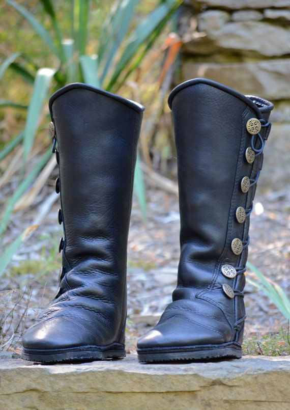 8b60f3a5afbf1 Black Leather Boots - Custom Leather Moccasins - Renaissance Boots - Knee  High Boots - Fantasy Boots - Victorian Boots - Custom Fit Boots