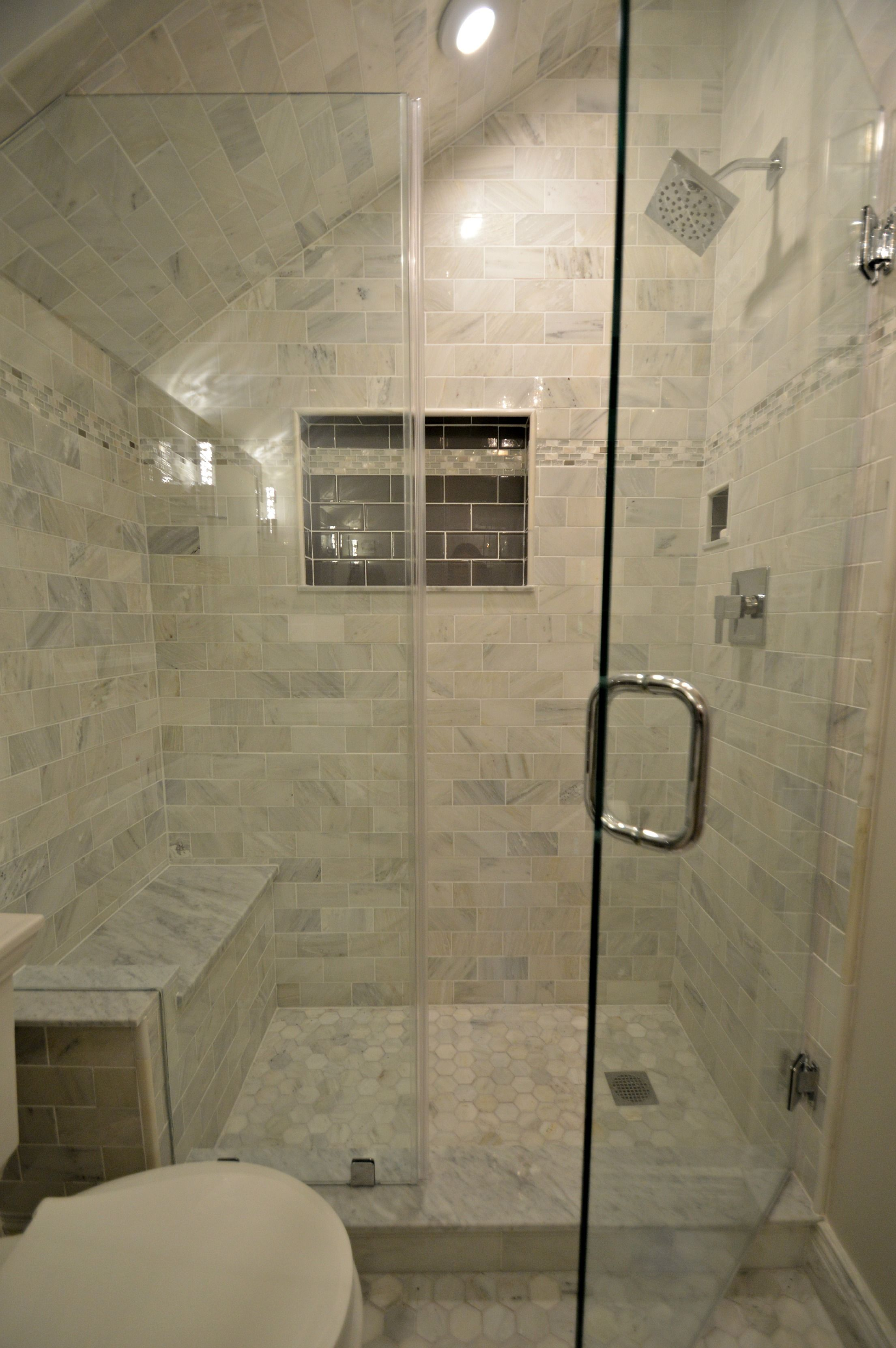 Add Tile On Your Shower Ceiling Here We Continued Carrara Marble Tile All The Way To The Sloped Ceiling For Th Shower Ceilings Carrara Marble Tile Marble Tile
