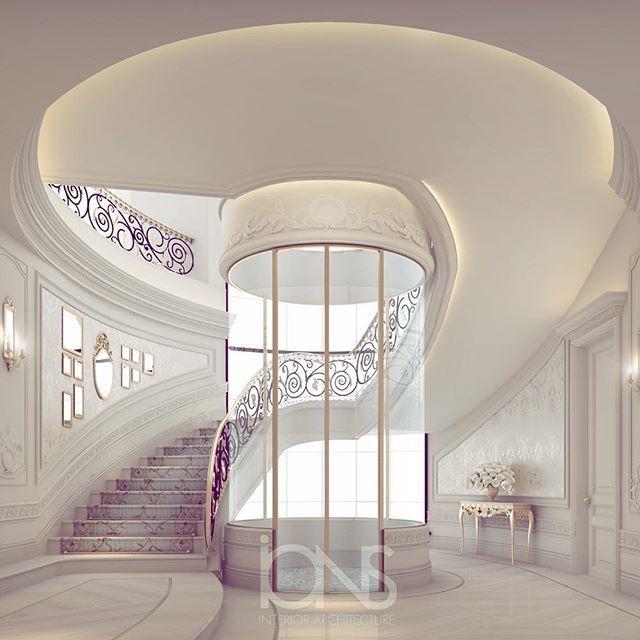 Private villa interior design | Staircase - elevator area #الدوحه ...