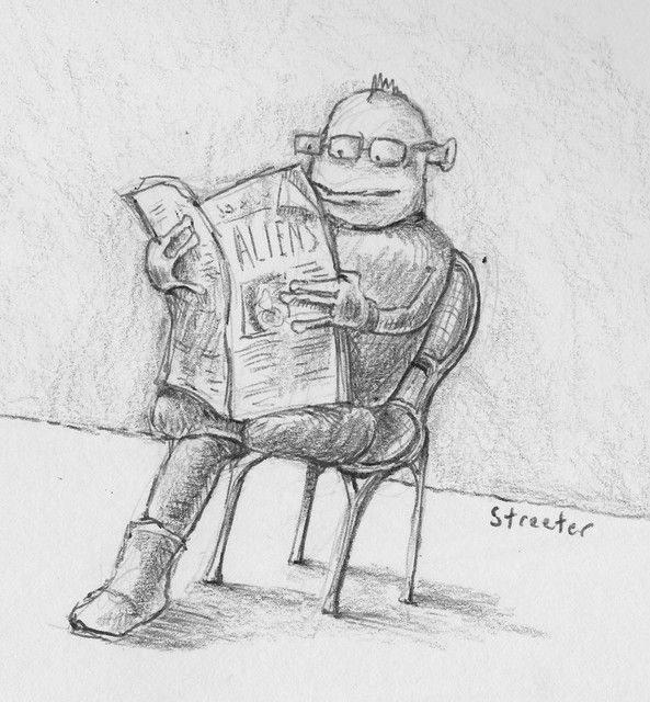 Alien Reads the Paper