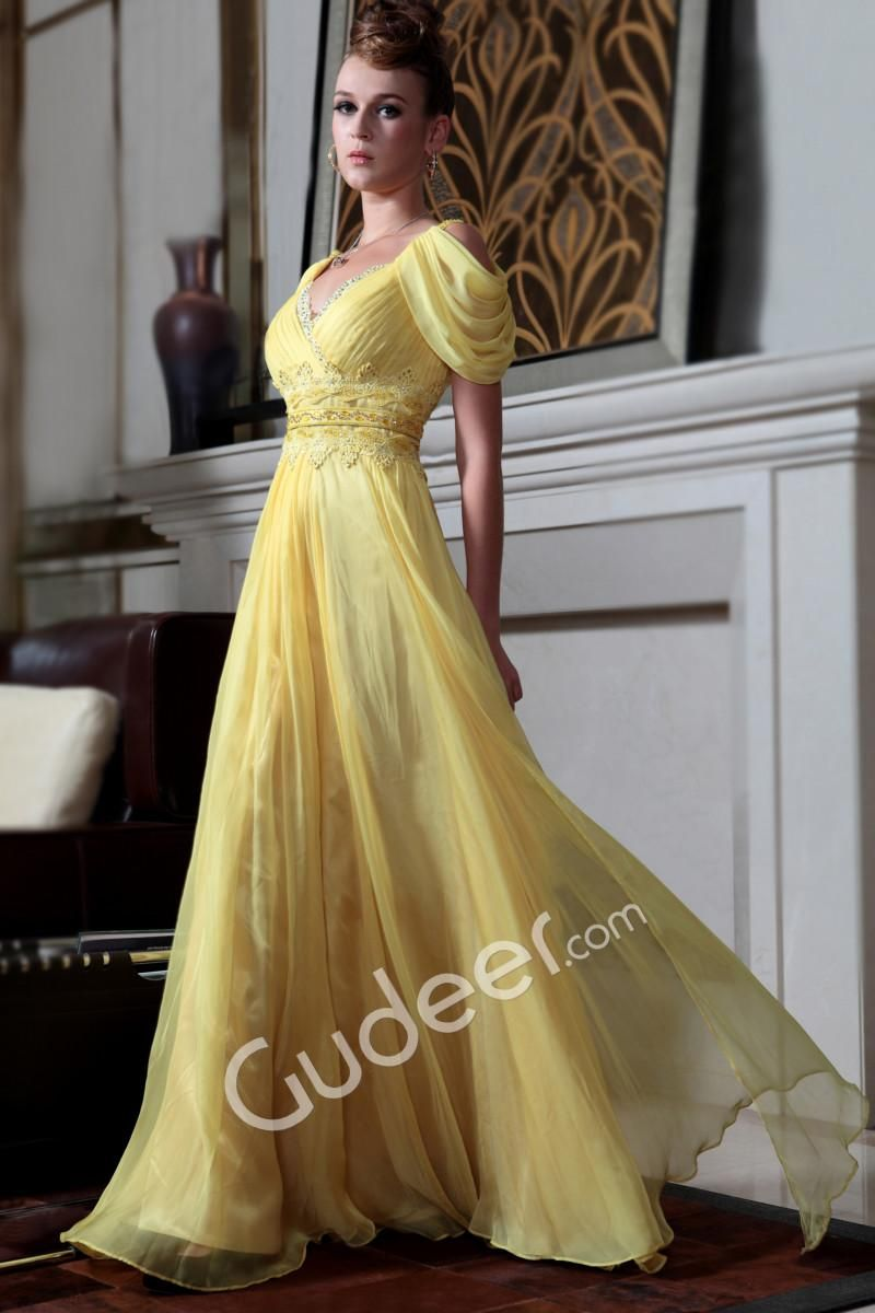 Yellow chiffon peekaboo sleeves prom dress vneck and back long