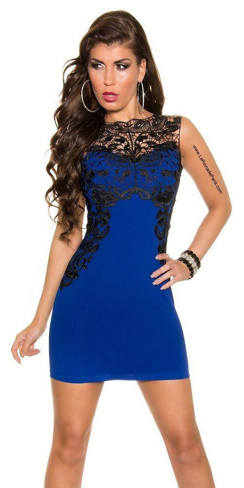 8607ebbd7 Comprar Vestido azul corto con encaje online Vestidos baratos online ...