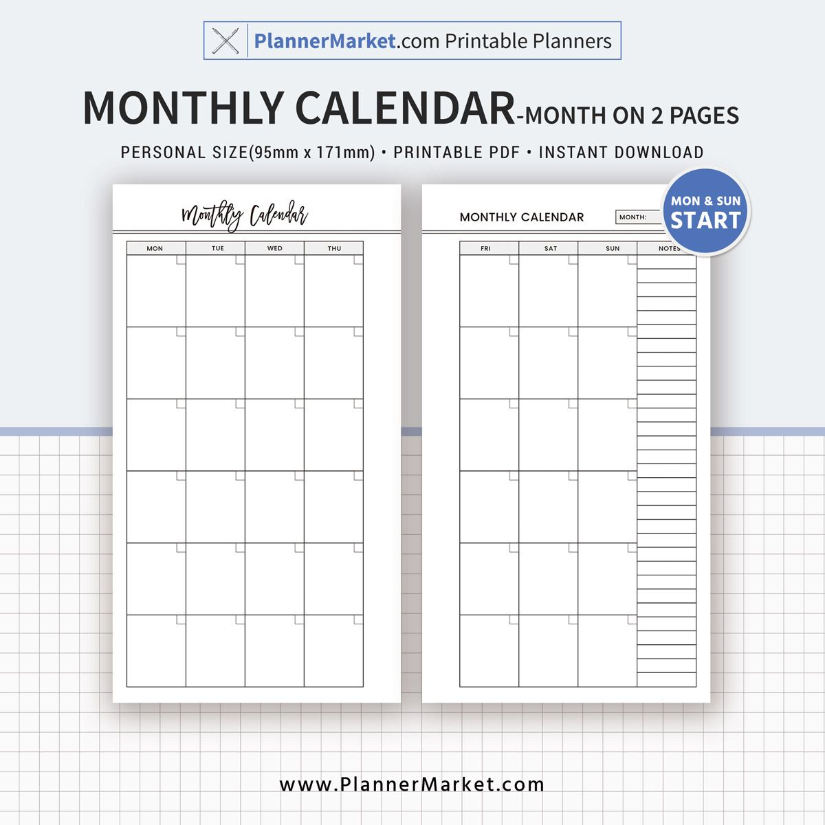 Monthly Calendar Monthly Planner Month On 2 Pages