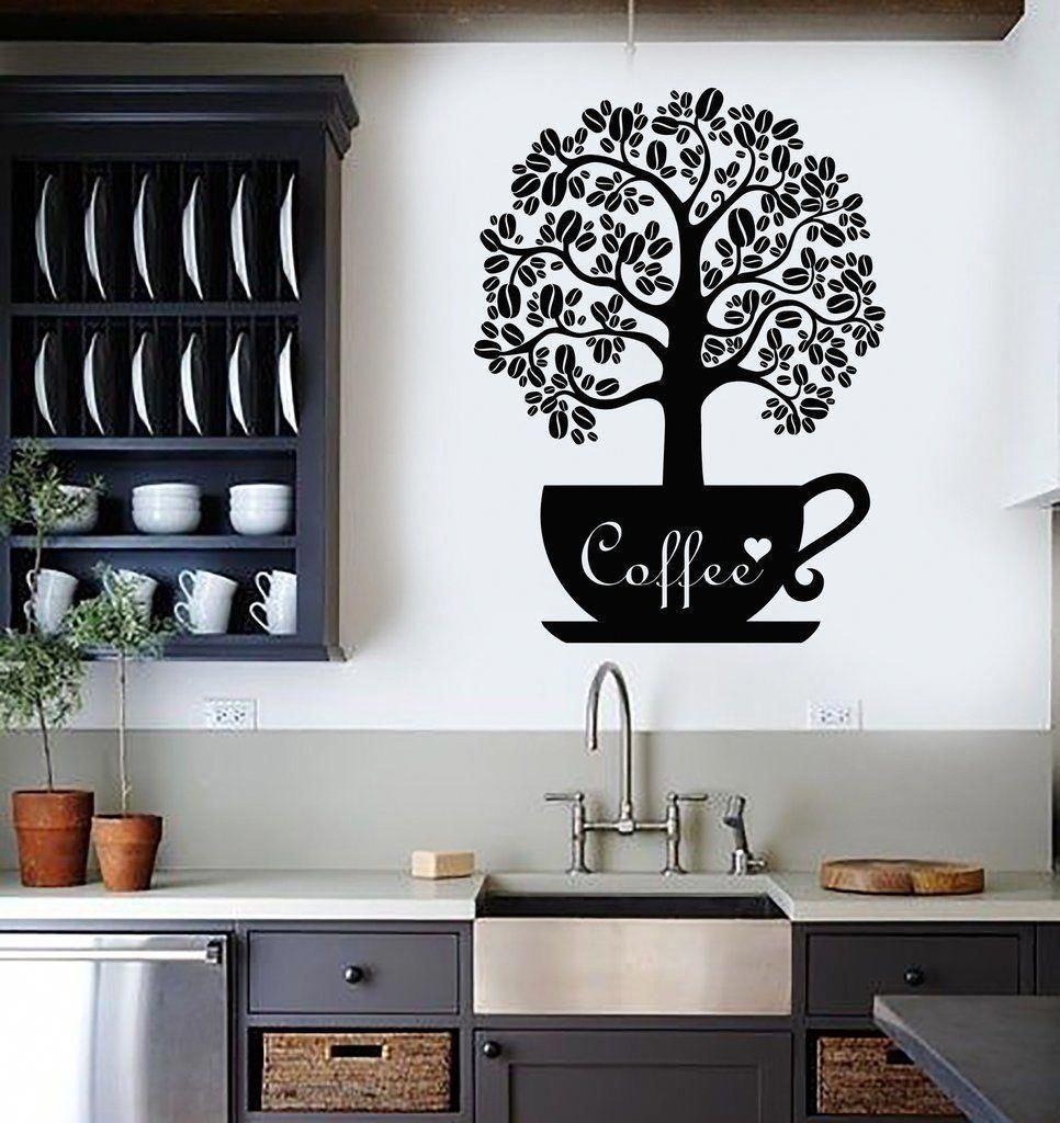 Küchenideen stein vinyl wall decal coffee beans shop tree kitchen decor stickers