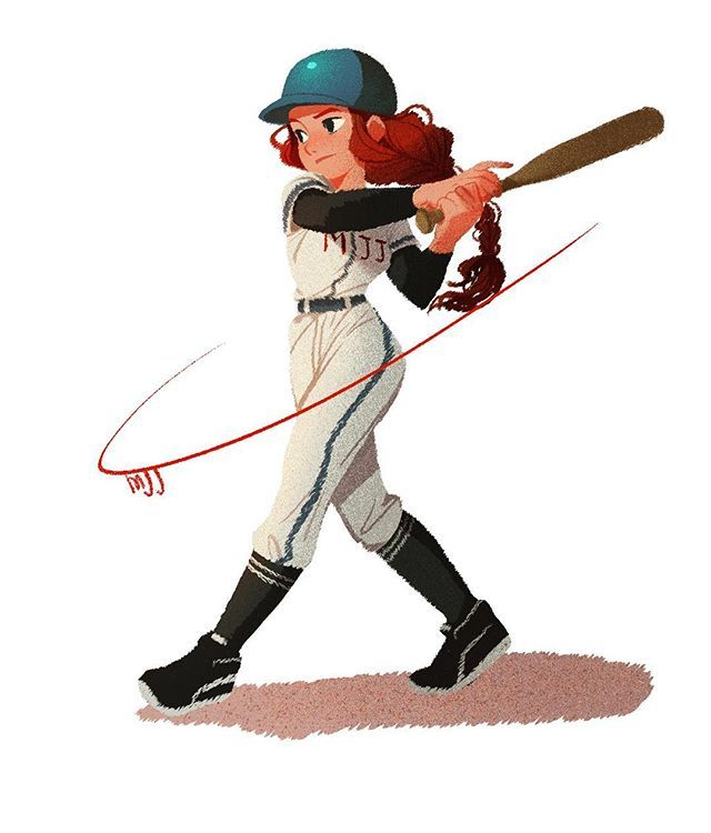 Baseball Doodle Drawing Character Rookie Girl With Images