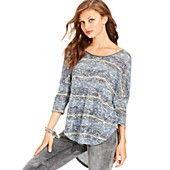 Jessica Simpson Juniors Top, Three-Quarter Sleeve Striped High-Low Knit