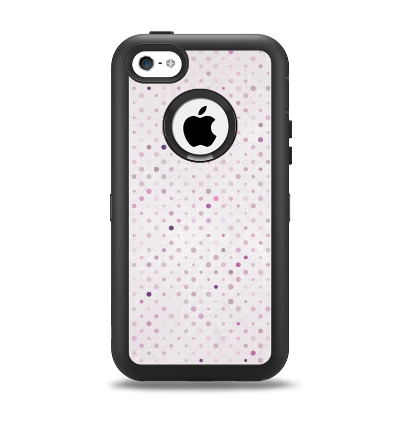 The Small Pink Polkadotted Surface Apple iPhone 5c Otterbox Defender Case Skin Set