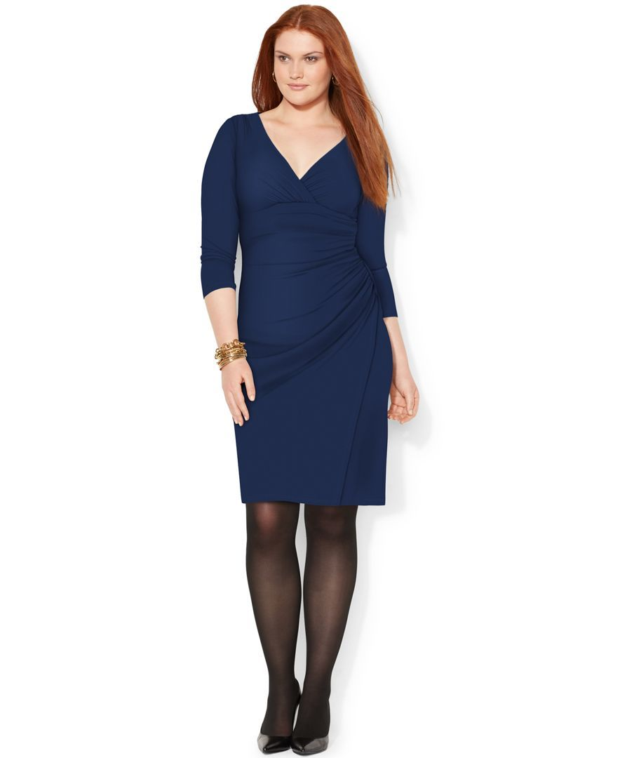 Lauren Ralph Lauren Plus Size Long-Sleeve Sheath Dress - Dresses - Women -  Macy\u0027s