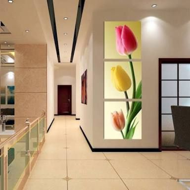 16×16in×3 Panels Tulip Pattern Vertically Hanging Canvas ...