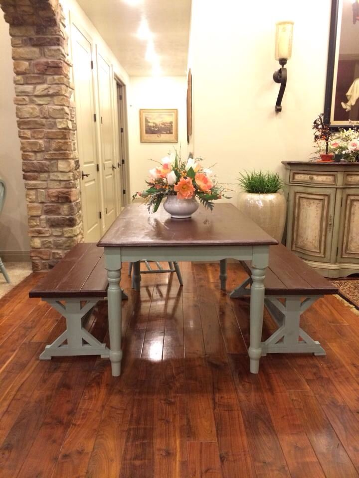 Two toned farm house table and benches. Blue and chocolate. Annie Sloan. Duck egg blue. By Bella Rusa Vintage. Find us on FB and Instagram @bella_rusa_vintage