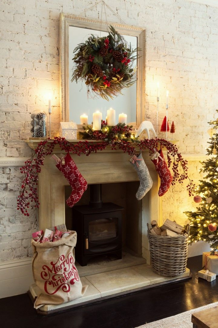 Nordic Christmas Inspiration Christmas Decoration Christmas Stocking Christmas S Christmas Fireplace Christmas Fireplace Decor Christmas Mantel Garland