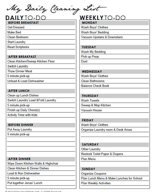 sample weekly cleaning schedule This a good template to base my - sample daily agenda