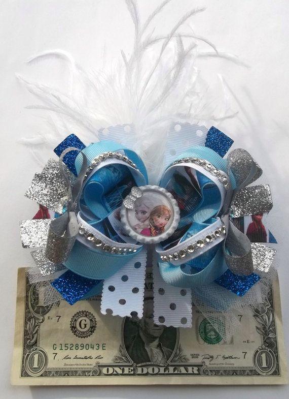 frozen handmade boutique hair bow