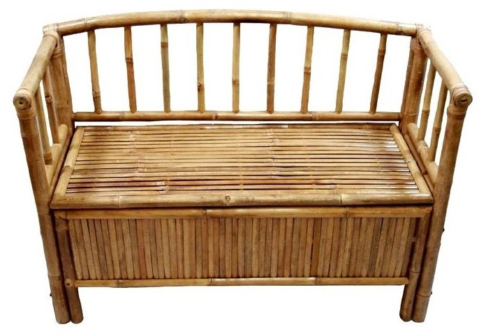 Bamboo Storage Bench With Arms And Hinged Seat Natural Asian Accent And Storage Benches By Shopladder Moveis De Bambu Artesanato Com Bambu Moveis