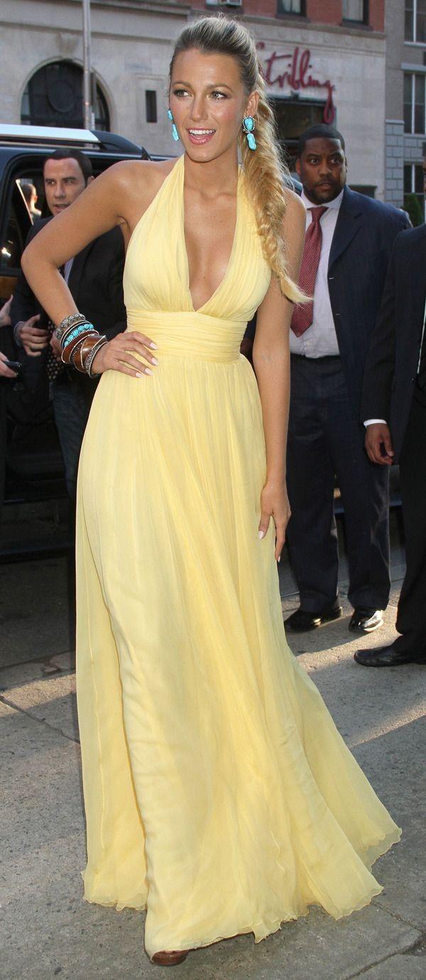 Long Sexy Deep V-neck Halter Yellow Prom Dress  eb2d281d9436