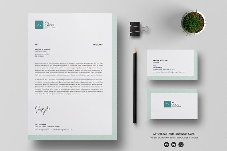 Letterhead Template With Business Card Corporate Letterhead Etsy Free Business Card Design Letterhead Template Letterhead Business