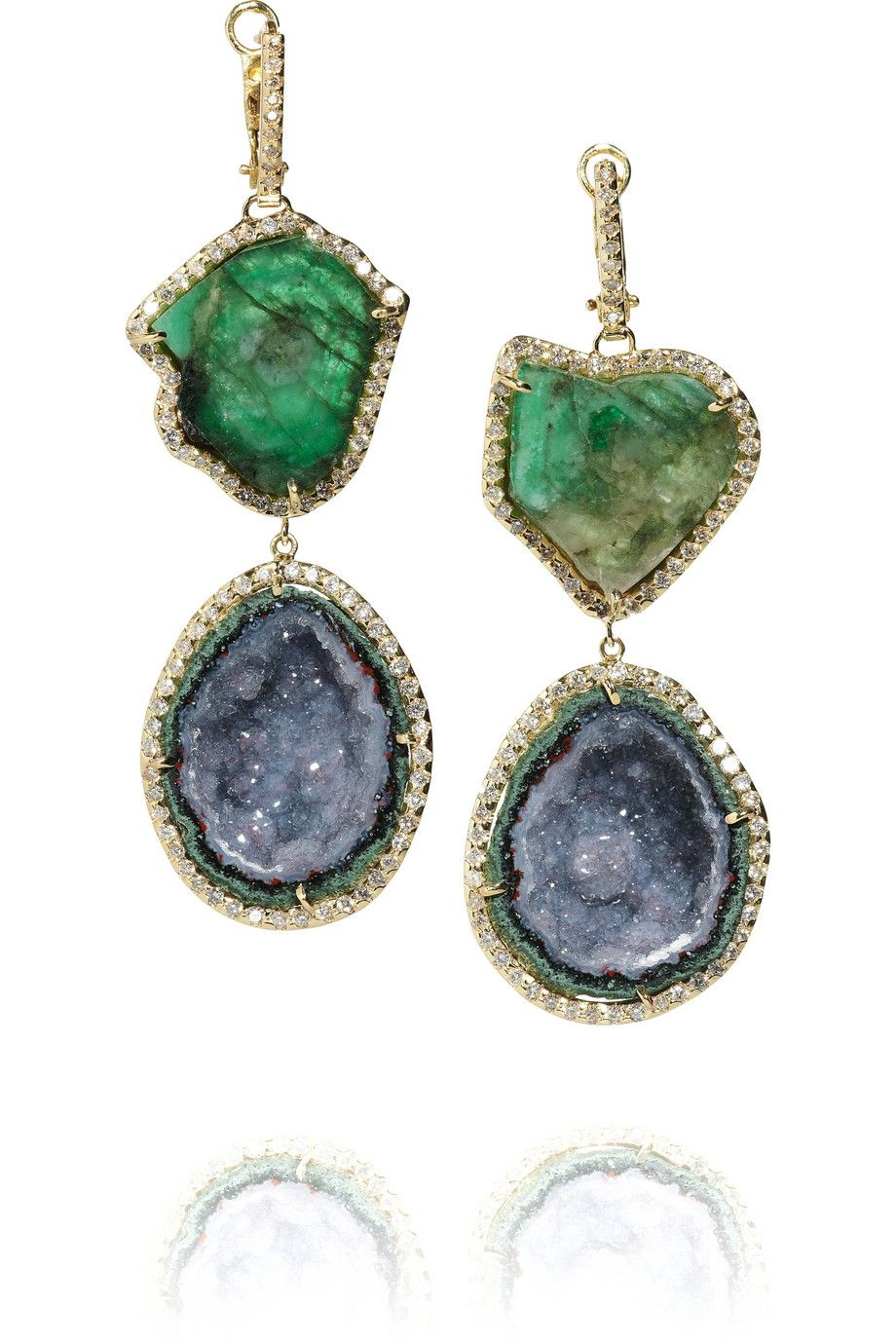 kimberly mcdonald gold/diamond/emerald earrings