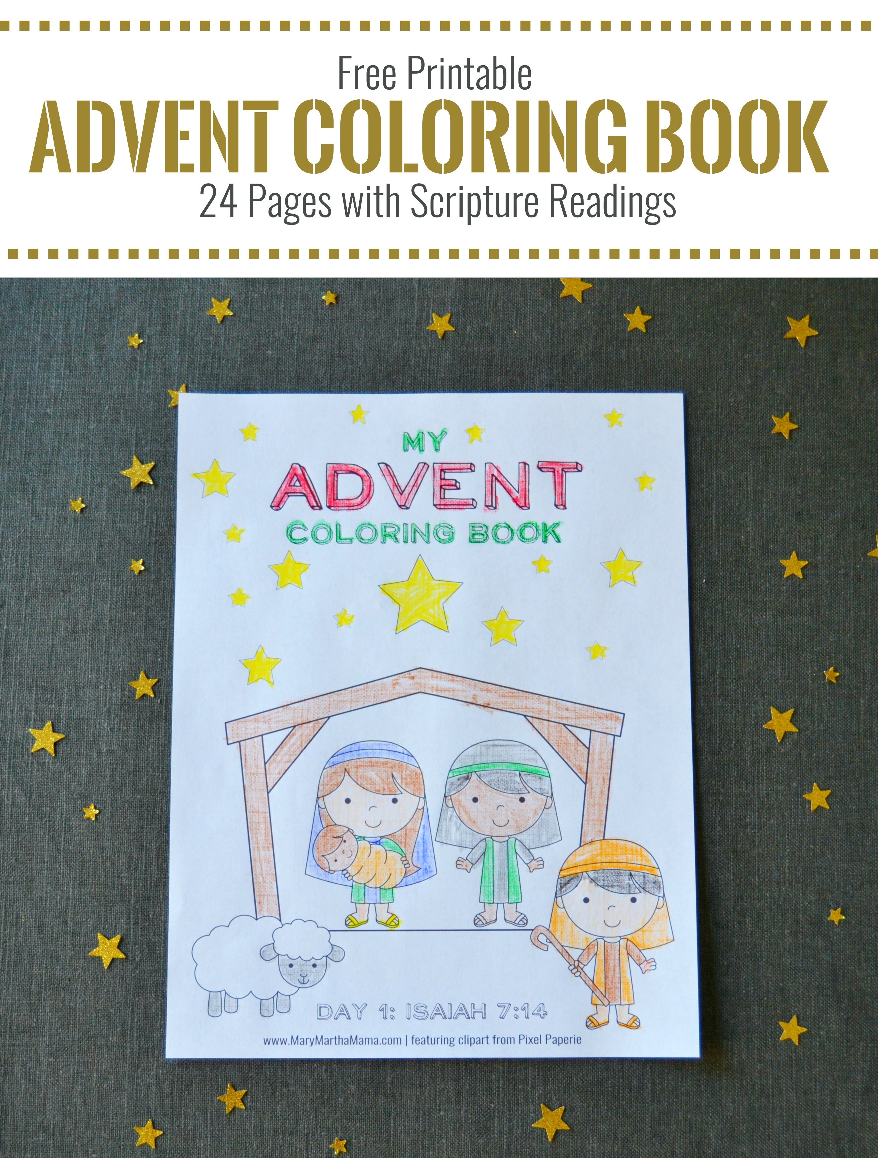 Printable Advent Coloring Book – Mary Martha Mama- 24 free coloring ...