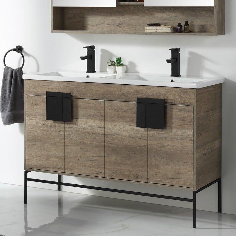 Modern Rustic Interiors Lee 48 Double Bathroom Vanity Set Reviews Wayfair Double Vanity Bathroom 48 Inch Bathroom Vanity Contemporary Bathroom Vanity