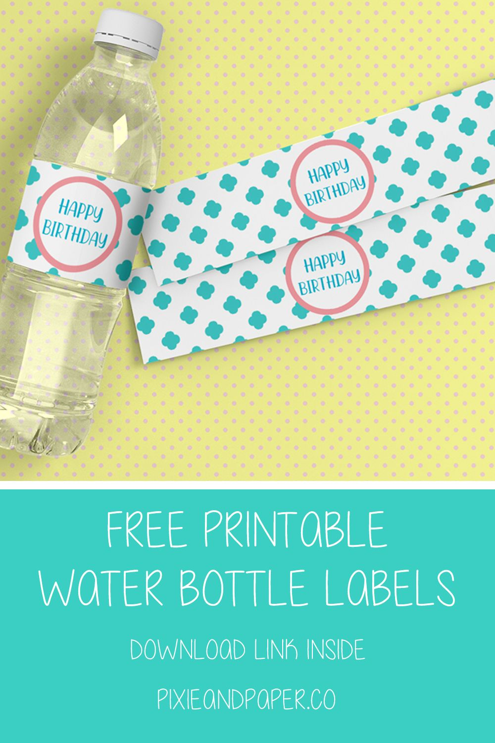 image regarding Free Printable Birthday Labels titled Absolutely free Printable Birthday Drinking water Bottle Labels as a result of Pixie Paper