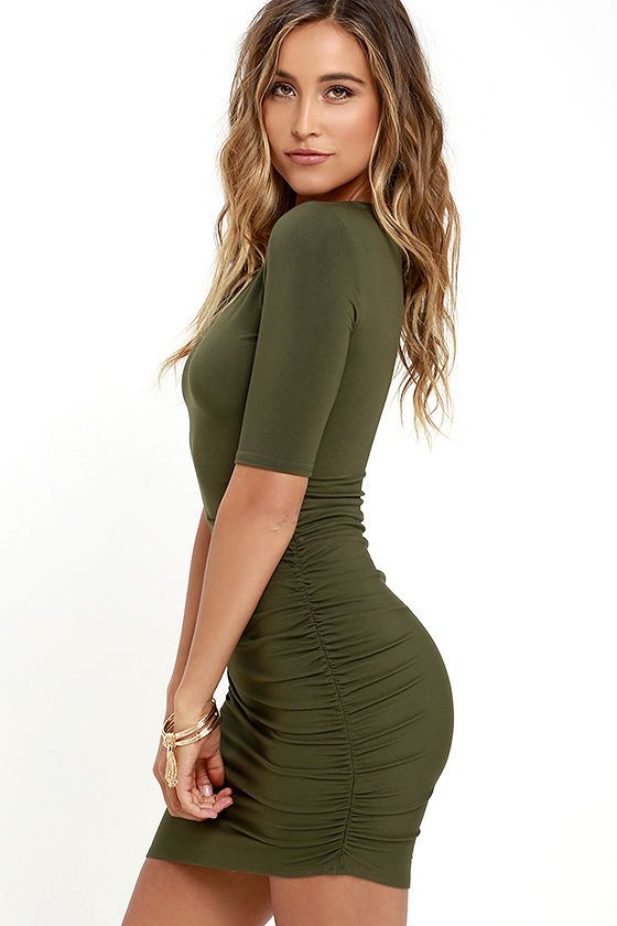348690e8abb2 Steal Your Attention Olive Green Bodycon Dress in 2019