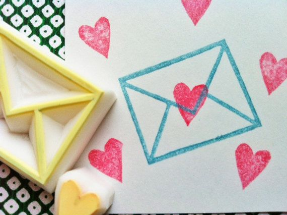 Love Letter Rubber Stamp Set Hand Carved Stamps Envelope Heart Valentine Craft Of 2
