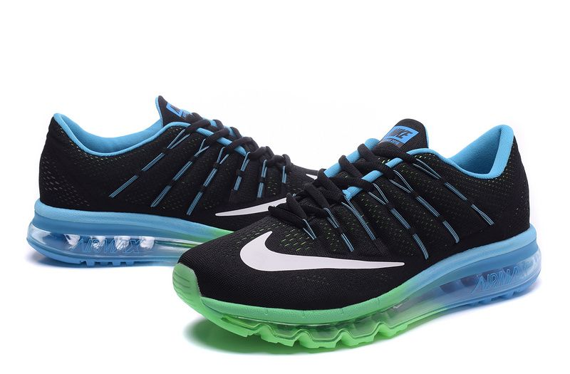 Mens Nike Air Max 2016 Black apple green blue white shoes  0f9f634c8