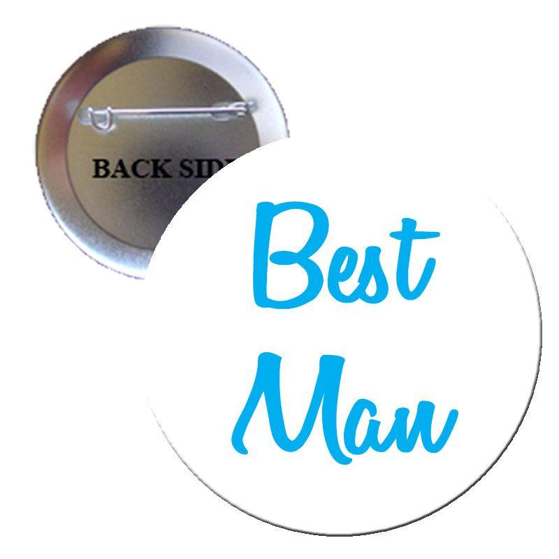 Best Man Blue Pinback 1.25