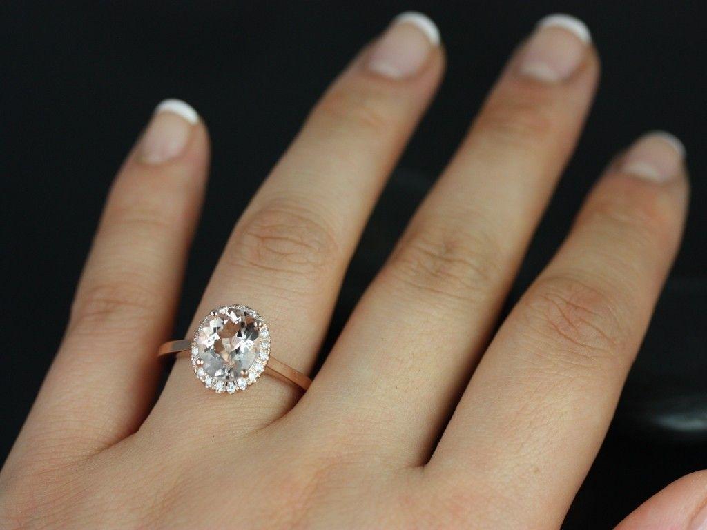 Rosados Box Charlotte Rose Gold Oval Morganite And Diamond Halo Engagement  Ring
