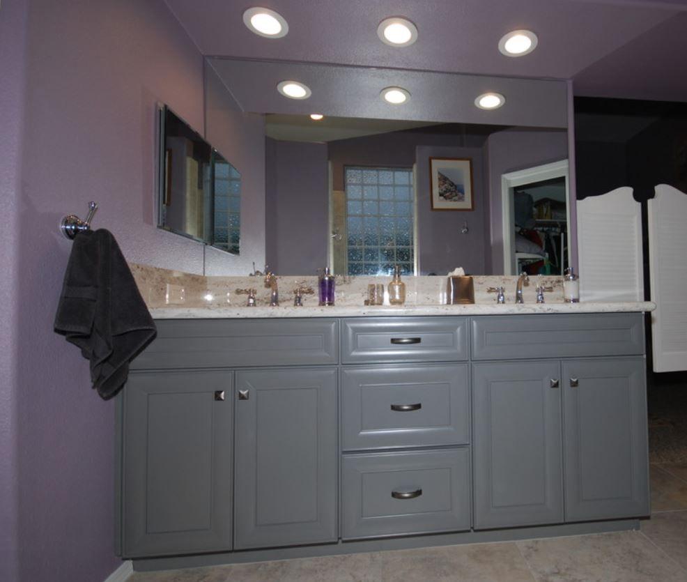 Pics Of KraftMaid greyloft cabinetry with river white granite