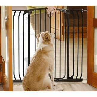 tall and wide dog gate with door black pet barrier dog and doggies - Doggie Gates
