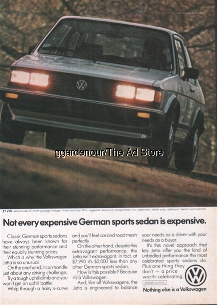 Vw Jetta Volkswagen Vintage German Sports Sedan Car Photo Ad