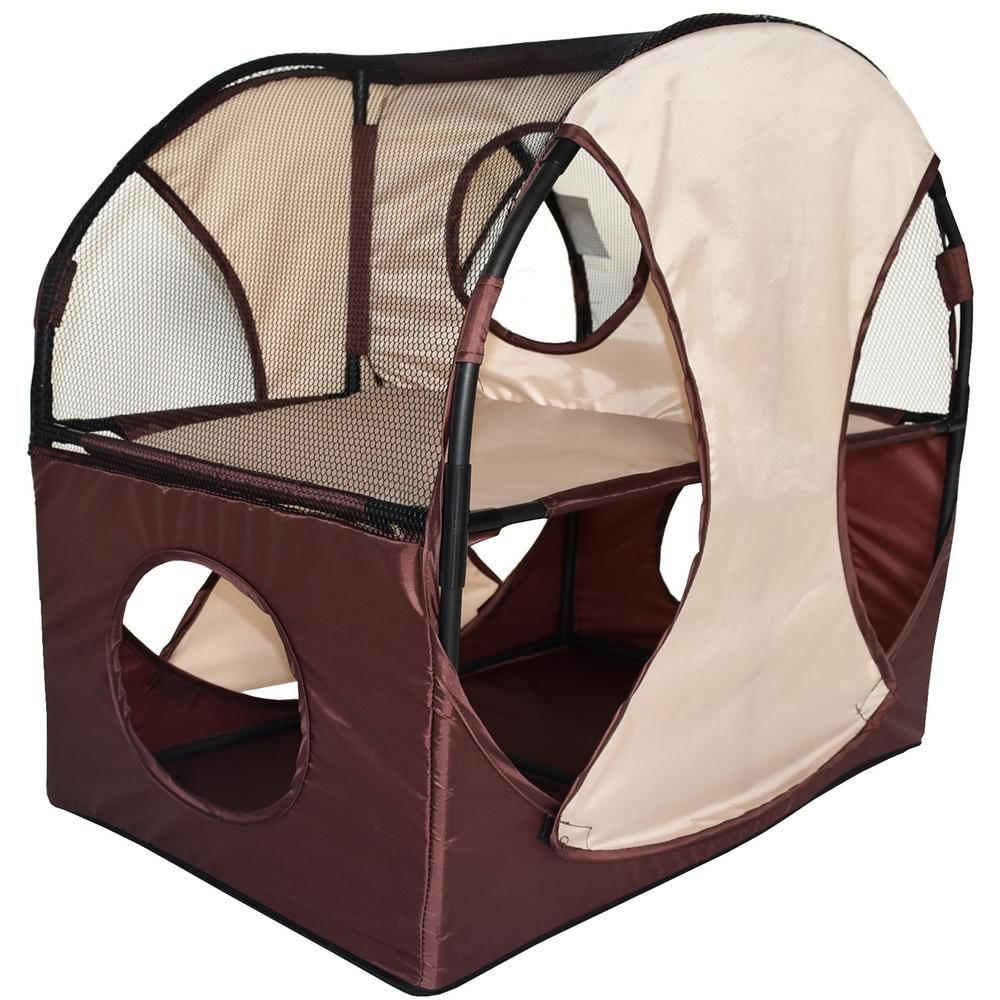 Pet Life Khaki And Brown Kitty Play Obstacle Travel Collapsible