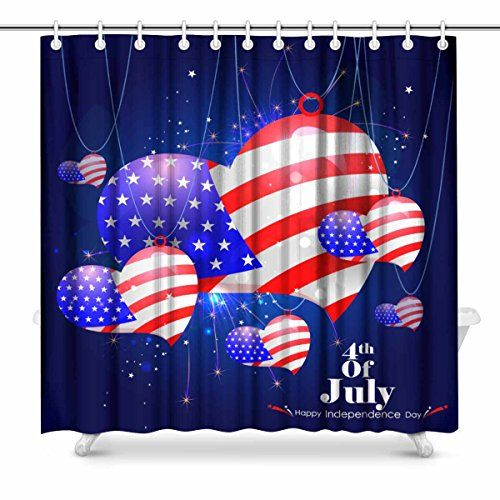 Interestprint America Shower Curtain Holiday Shower Curtains