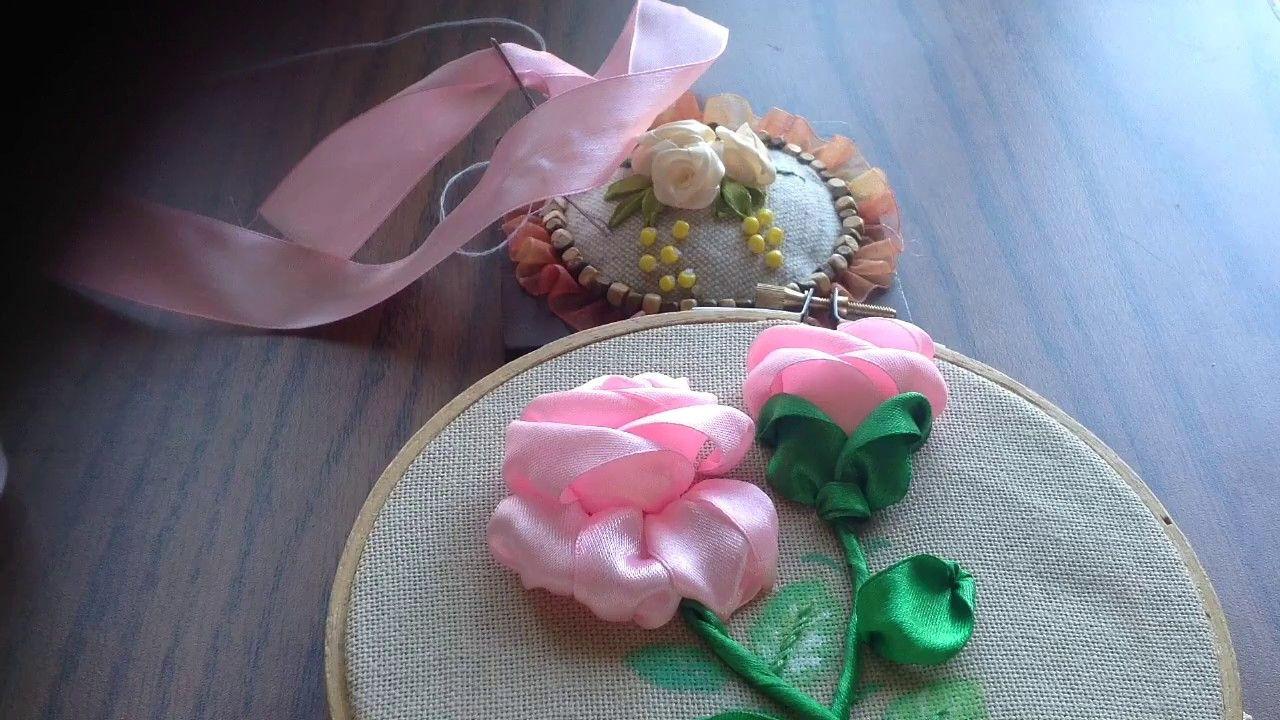 28 Amany Ribbon Art طريقة عمل وردة بلدي مقفوله Ribbon Work Ribbon Crafts Silk Ribbon Embroidery