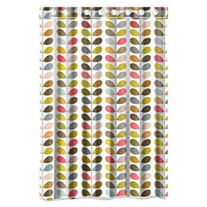 Custom Orla Kiely Colorful Leaf Waterproof Bathroom Shower Curtain