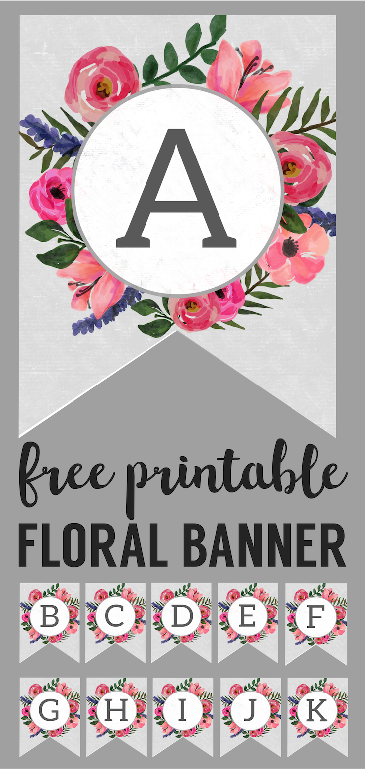 Floral Alphabet Banner Letters Free Printable | Banderitas ...