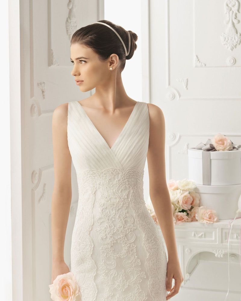 Lace mermaid wedding dress with cathedral train  Ruffles VNeck Applique Yarn Lace Cathedral Train Mermaid Wedding