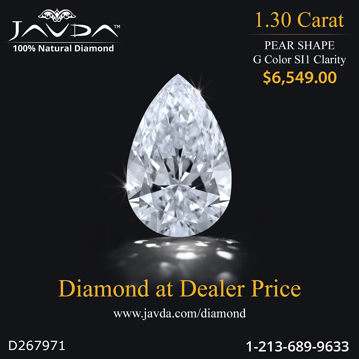Pear Shape Diamond Certified By Gia 100 Natural G Color Si1 Clarity 1 30 Ct Total Weight Diamond Loose Diamonds Pear Shaped Diamond