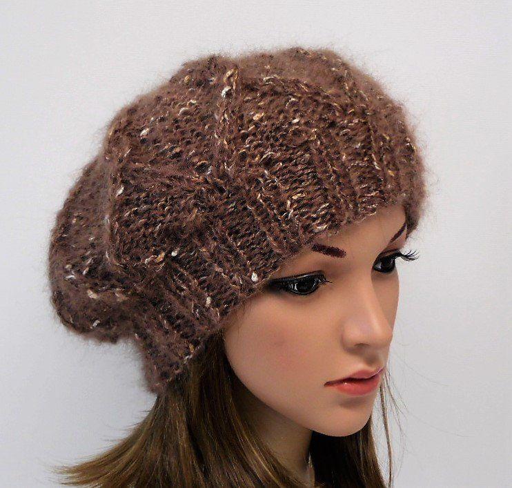 ff6df1d5509 Brown mohair beret for women