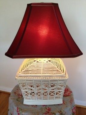 Burgundy lamp shades foter lamps pinterest bedrooms wicker lamp with burgundy shade in miami florida apartment therapy classifieds aloadofball Gallery