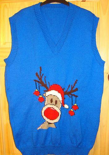 Christmas Rudolph Reindeer Tank Top / Sleeveless Jumper Knitting Pattern #15.