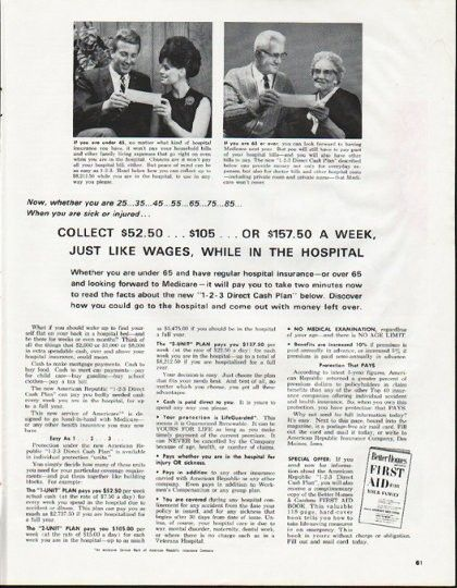 1965 American Republic Insurance Company Vintage Ad Sick Or Injured American Life Insurance Insurance Company