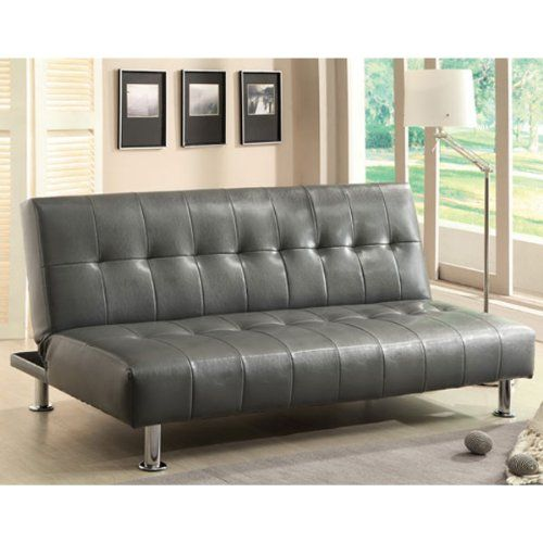 Bulle Gray Leatherette Finish Futon Sofa Bed For Sale With Images