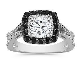 Shane Co round diamond halo setting engagement and wedding ring with black sapphire. Beautiful and classy.