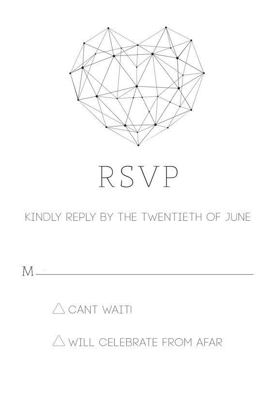 Modern Minimalist Geometric Heart Wedding Invitation by GubbaGumma